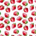 Seamless pattern of a strawberry.