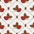 Seamless pattern with strawberry and polka dot rhombus on beige background Royalty Free Stock Photos