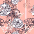 Seamless pattern with striped background roses an and butterflies vector illustration Royalty Free Stock Photos