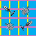 Seamless pattern Studio microphones on a blue plaid background. vector image