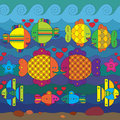 Seamless pattern with stylize fishes amorous fantasy under water Stock Photo