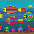Seamless pattern with stylize fishes fantasy under water Stock Photo