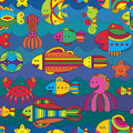 Seamless pattern with stylize fishes fantasy under water Stock Photography