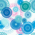 Seamless pattern with stylized blue flowers, pink accents. Royalty Free Stock Photo