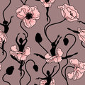 Seamless pattern of stylized dance of flowers and ballerinas Royalty Free Stock Images