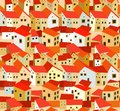 Seamless pattern with stylized spanish houses near river Royalty Free Stock Photos