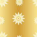 Seamless pattern with stylized stars on golden gradient background. Vector