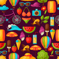 Seamless pattern with stylized summer objects. Background made without clipping mask. Easy to use for backdrop, textile Royalty Free Stock Photo