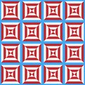 Seamless pattern of the stylized white and red cell on a blue background