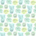 Seamless pattern with succulent flowers in pots. Vector floral background for textile design.