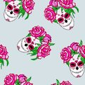 Seamless pattern with sugar skull and pink roses.