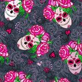 Seamless pattern with sugar skull and pink roses. Royalty Free Stock Photo