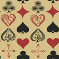 Seamless pattern of suits of playing cards vintage Stock Photo