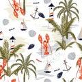 Seamless pattern summer tropical island of mediterranean