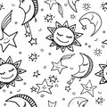 Seamless pattern of sun, moon and stars Royalty Free Stock Photo