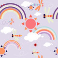 Seamless pattern with sun in the sky with clouds