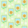 Seamless pattern with sunflowers vector Royalty Free Stock Image
