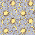 Seamless pattern with suns moons and stars vector yellow on a blue background Stock Image