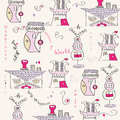 Seamless pattern with surreal houses illustration in format Royalty Free Stock Images