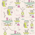 Seamless pattern with surreal houses illustration in vector format Stock Images
