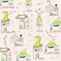 Seamless pattern with surreal houses illustration in vector format Stock Image