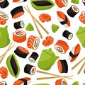 Seamless pattern with sushi japanese traditional cuisine illustration Royalty Free Stock Photo