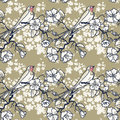 Seamless pattern with swallow sitting on blooming tree branches