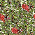 Seamless pattern with the swans. Royalty Free Stock Photo