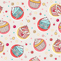 Seamless pattern with sweet cupcakes Royalty Free Stock Photography