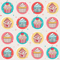 Seamless pattern with sweet cupcakes Royalty Free Stock Image