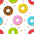 Seamless pattern with sweet donuts with colorful glaze. Vector illustration