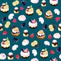 Seamless pattern with sweets. Cakes, muffins, pastries with cream, cakes, berries, marshmallows, chocolate on a blu background.