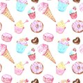 Seamless pattern with sweets dessert - ice cream in a cone, cupcakes, donuts, macarons in pastel colors.