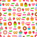 Seamless pattern sweets fruit other cute things pattern swatch included file Stock Images