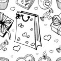 Seamless pattern with sweets and gifts