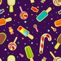 Seamless pattern of sweets and ice cream.