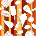 Seamless pattern sweets paper cutout Royalty Free Stock Images