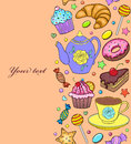 Seamless pattern with sweets, teapot and cup Royalty Free Stock Photo