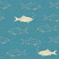 Seamless pattern of swimming fish with bubbles vintage texture eps illustration Stock Photos