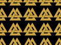 Seamless pattern with the symbol of the god Odin. Valknut.