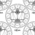 Seamless pattern with symbols of a horoscope, signs of the zodiac Royalty Free Stock Photo