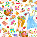 Seamless pattern with symbols of spring summer and hebrew holiday shavuot Stock Images