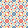 Seamless pattern with symmetric geometric ornament. Abstract repeated bright squares and rhombuses background.