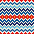 Seamless pattern with symmetric geometric ornament. Chevron zigzag bright colors horizontal lines abstract background.