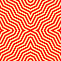 Seamless pattern with symmetric ornament. Red abstract on yellow background. Psychedelic wallpaper. Lines motif. Vector Royalty Free Stock Photo