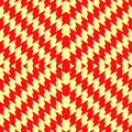 Seamless pattern with symmetric wavy lines ornament. Red color jagged stripes on yellow background. Zigzag motif. Vector Royalty Free Stock Photo
