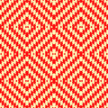 Seamless pattern with symmetric wavy rhombuses ornament. Red color jagged stripes on yellow background. Aztec motif.