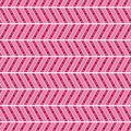 Seamless  pattern. Symmetrical geometric abstract background with lines and dots in the shape of zigzag in pink colors. Royalty Free Stock Photo