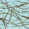 Seamless pattern tangled Brown branches with green leaves on blue violet sky clouds evening background. abstract background for si