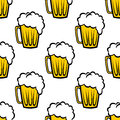 Seamless pattern with tankards repeat background of golden of frothy beer or ale suitable for print wallpaper or fabric design Royalty Free Stock Photos